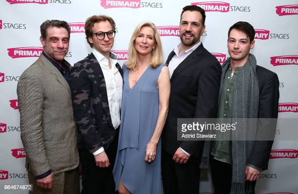 Actors Lou Liberatore Ryan Spahn Anna Holbrook Matthew Montelongo and Leland Wheeler attends 'Daniel's Husband' opening night party at Sushi Samba on...