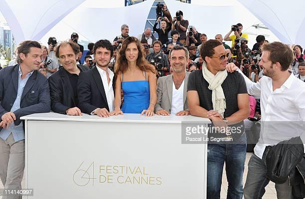 Actors Louis Do De Lencquesaing Frederic Pierrot Jeremie Elkaim director Maïwenn Le Besco Arnaud HenrietJoeystarr and Nicolas Duvauchelle attend the...