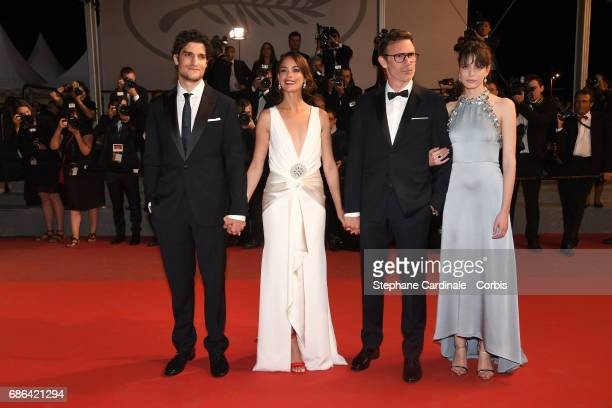 Actors Louis Garrel Berenice Bejo director Michel Hazanavicius and Stacy Martin attend the 'Redoubtable ' premiere during the 70th annual Cannes Film...