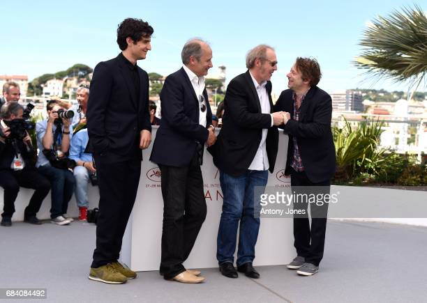 Actors Louis Garrel Hippolyte Girardot director Arnaud Desplechin and Mathieu Amalric attend the 'Ismael's Ghosts ' photocall during the 70th annual...