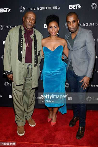 Actors Louis Gossett Jr Aunjanue Ellis and filmmaker Clement Virgo attend 'The Book Of Negroes' Screening at The Paley Center for Media on December...