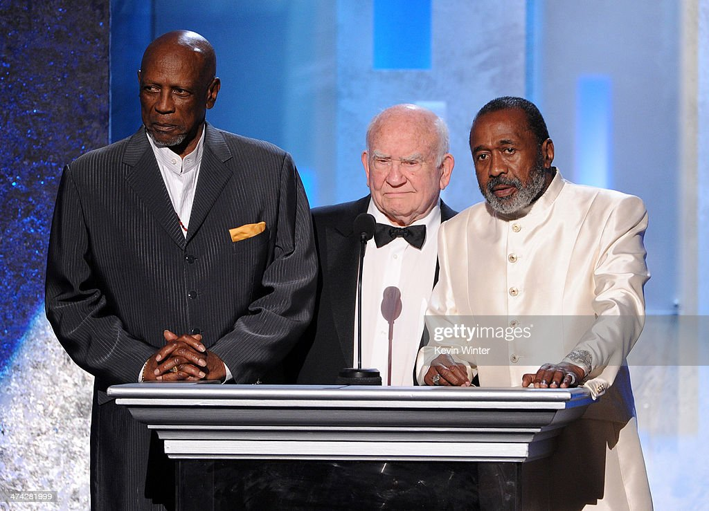 Actors Louis Gossett Jr., <a gi-track='captionPersonalityLinkClicked' href=/galleries/search?phrase=Ed+Asner&family=editorial&specificpeople=216485 ng-click='$event.stopPropagation()'>Ed Asner</a> and <a gi-track='captionPersonalityLinkClicked' href=/galleries/search?phrase=Ben+Vereen&family=editorial&specificpeople=241224 ng-click='$event.stopPropagation()'>Ben Vereen</a> speak onstage during the 45th NAACP Image Awards presented by TV One at Pasadena Civic Auditorium on February 22, 2014 in Pasadena, California.