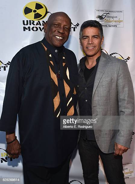 Actors Louis Gossette Jr and Esai Morales attend the Atomic Age Cinema Fest Premiere of 'The Man Who Saved The World' at Raleigh Studios on April 27...
