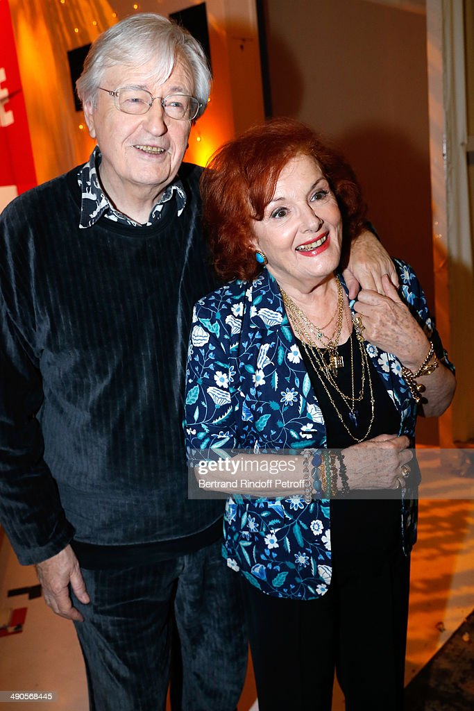 Actors Louis Velle and his wife Frederique Hebrard present the book 'La Demoiselle d'Avignon est de retour' for their 65 years of marriage at the 'Vivement Dimanche' French TV show at Pavillon Gabriel on May 14, 2014 in Paris, France.