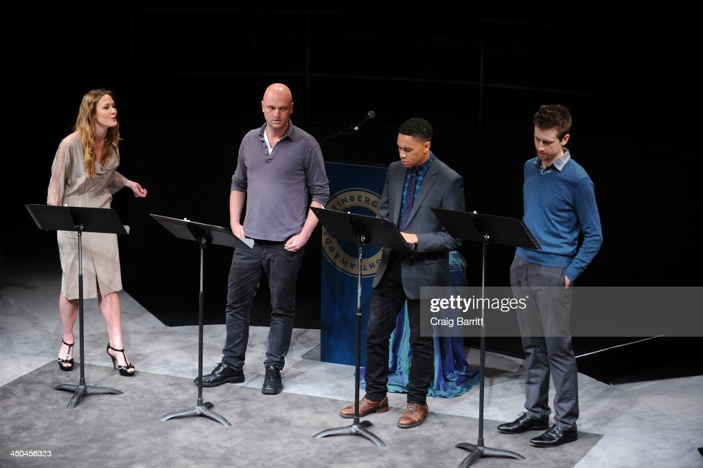 Actors Louisa Krause, Matthew Maher, Aaron Clifton Moten and Alex Hanna perform onstage at The 2013 Steinberg Playwright 'Mimi' Awards presented by The Harold and Mimi Steinberg Charitable Trust at Lincoln Center Theater on November 18, 2013 in New York City.