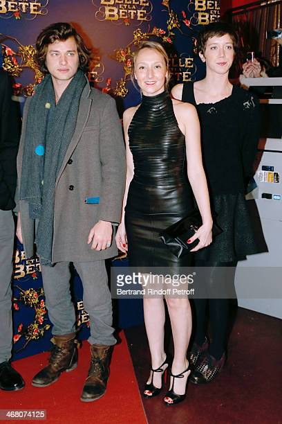 Actors Louka Meliava Audrey Lamy and Sara Giraudeau attend 'La Belle et la Bete' Paris Premiere Held at Gaumont Opera on February 9 2014 in Paris...