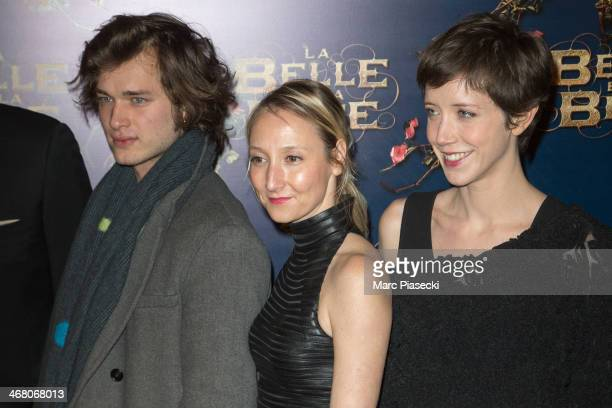 Actors Louka Meliava Audrey Lamy and Sara Giraudeau attend the 'La Belle la bete' Paris Premiere at Gaumont Opera on February 9 2014 in Paris France