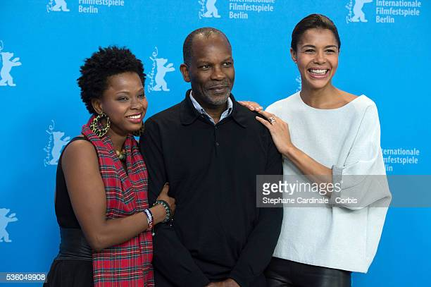 Actors Lovely Kermonde Fif Alex Descas and Ayo attend the 'Murder in Pacot' photocall during the 65th Berlinale International Film Festival at Grand...