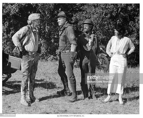 Actors LQ Jones RG Armstrong and actress Brenda Vaccaro on set of the Universal Studios movie ' Fast Charlie the Moonbeam Rider' in 1979