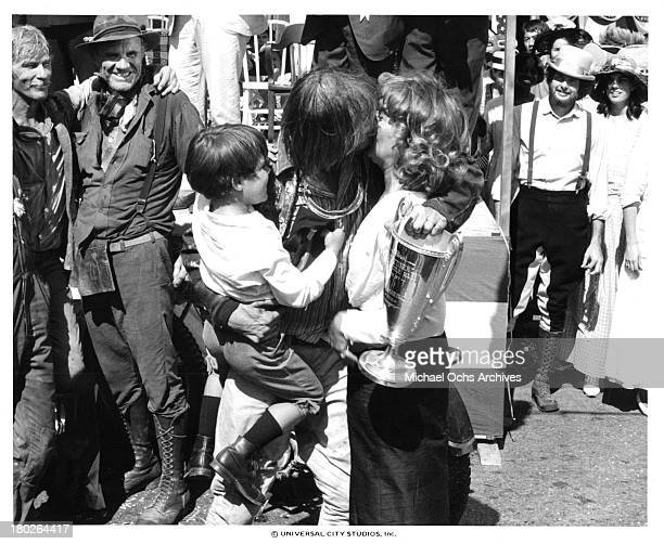 Actors LQ Jones RG Armstrong Whit Clay David Carradine and actress Brenda Vaccaro on set of the Universal Studios movie ' Fast Charlie the Moonbeam...