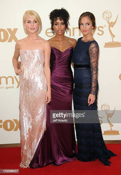 Actors LR Rachael Taylor Annie Ilonzeh and Minka Kelly arrives at the 63rd Primetime Emmy Awards at Nokia Theatre LA Live on September 18 2011 in Los...