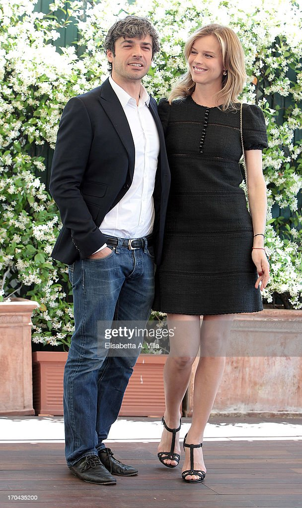 Actors Luca Argentero (L) and Eva Herzigova attend 'Cha Cha Cha' photocall at Hotel Bernini Bristol on June 13, 2013 in Rome, Italy.