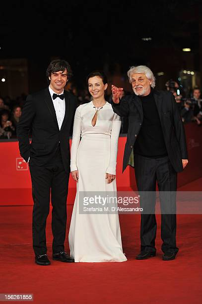 Actors Luca Argentero Violante Placido and director Michele Placido attend 'The Lookout' Premiere during the 7th Rome Film Festival at the Auditorium...