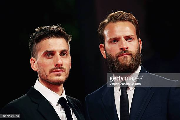 Actors Luca Marinelli and Alessandro Borghi attend a premiere for 'Don't Be Bad' during the 72nd Venice Film Festival at Palazzo del Casino on...