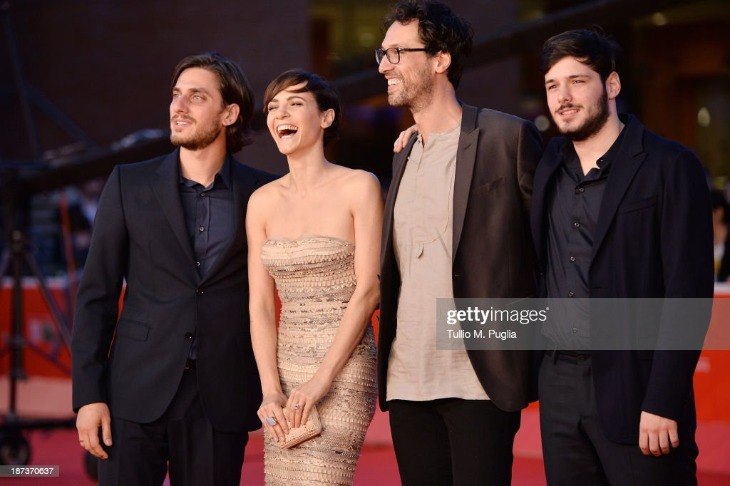Actors Luca Marinelli, Camilla Filippi, director Alessandro Lunardelli and actor Filippo Scicchitano attends 'Il Mondo Fino In Fondo' Premiere during The 8th Rome Film Festival at the Auditorium Parco Della Musica on November 8, 2013 in Rome, Italy.