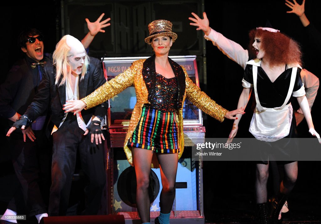 Actors Lucas Grabeel Melora Hardin and Evan Rachel Wood perform onstage during The Rocky Horror Picture Show 35th anniversary to benefit The Painted...
