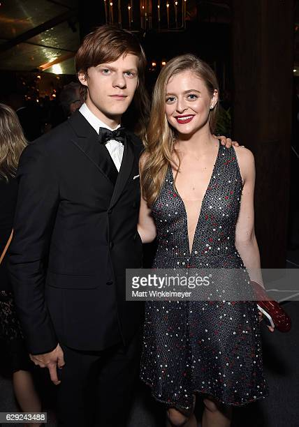 Actors Lucas Hedges and Anna Baryshnikov attend The 22nd Annual Critics' Choice Awards after party at Barker Hangar on December 11 2016 in Santa...