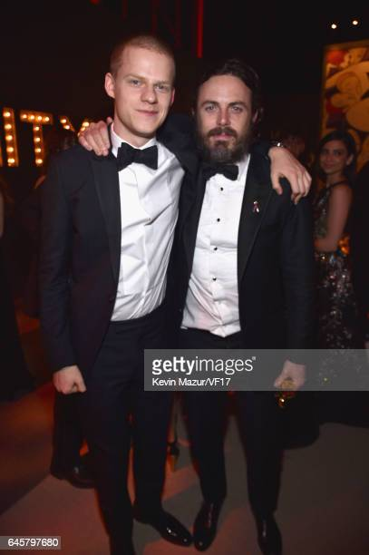 Actors Lucas Hedges and Casey Affleck attend the 2017 Vanity Fair Oscar Party hosted by Graydon Carter at Wallis Annenberg Center for the Performing...