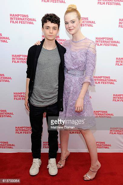 Actors Lucas Jade Zumann and Elle Fanning attend the red carpet of 20th Century Women screening during the Hamptons International Film Festival 2016...