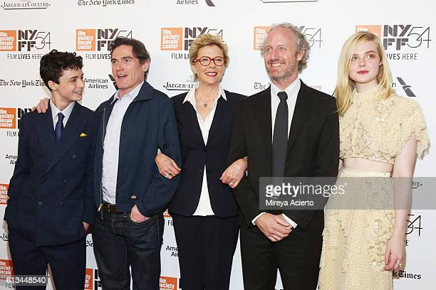 Actors Lucas Jade Zumann Billy Crudup and Annette Bening director Mike Mills and actress Elle Fanning attend the premiere of '20th Century Women' at...