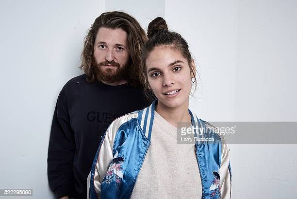 Actors Lucas Neff and Caitlin Stasey from 'Fear Inc' pose at the Tribeca Film Festival Getty Images Studio on April 17 2016 in New York City