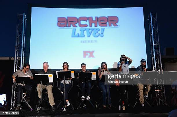 Actors Lucky Yates Adam Reed Amber Nash Chris Parnell Judy Greer Aisha Tyler and H Jon Benjamin attend 'ARCHER Live' aboard the Inspiration...