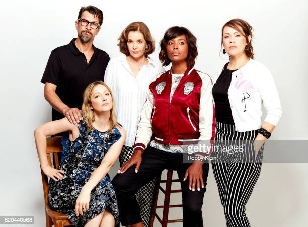 Actors Lucky Yates Judy Greer Jessica Walter Aisha Tyler and Amber Nash from FX's 'Archer' pose for a portrait during ComicCon 2017 at Hard Rock...
