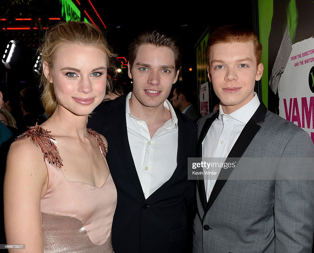 Actors Lucy Fry, Dominic Sherwood and <a gi-track='captionPersonalityLinkClicked' href=/galleries/search?phrase=Cameron+Monaghan&family=editorial&specificpeople=764741 ng-click='$event.stopPropagation()'>Cameron Monaghan</a> attend the premiere of The Weinstein Company's 'Vampire Academy' at Regal Cinemas L.A. Live on February 4, 2014 in Los Angeles, California.