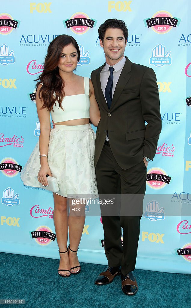 Actors <a gi-track='captionPersonalityLinkClicked' href=/galleries/search?phrase=Lucy+Hale&family=editorial&specificpeople=4430849 ng-click='$event.stopPropagation()'>Lucy Hale</a> (L) and <a gi-track='captionPersonalityLinkClicked' href=/galleries/search?phrase=Darren+Criss&family=editorial&specificpeople=7341435 ng-click='$event.stopPropagation()'>Darren Criss</a> arrive at the Fox Teen Choice Awards 2013 held at the Gibson Amphitheatre on August 11, 2013 in Los Angeles, California.