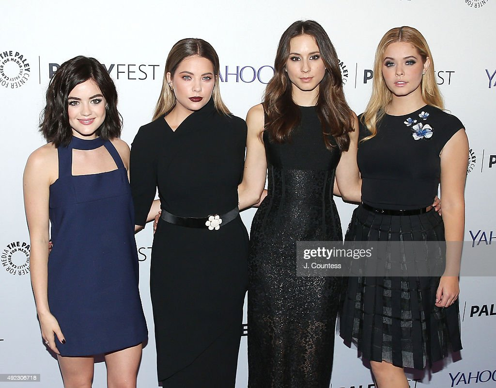 Actors Lucy Hale Ashley Benson Troian Bellisario and Sasha Pieterse attend the 'Pretty Little Liars' panal discussion during the PaleyFest New York...