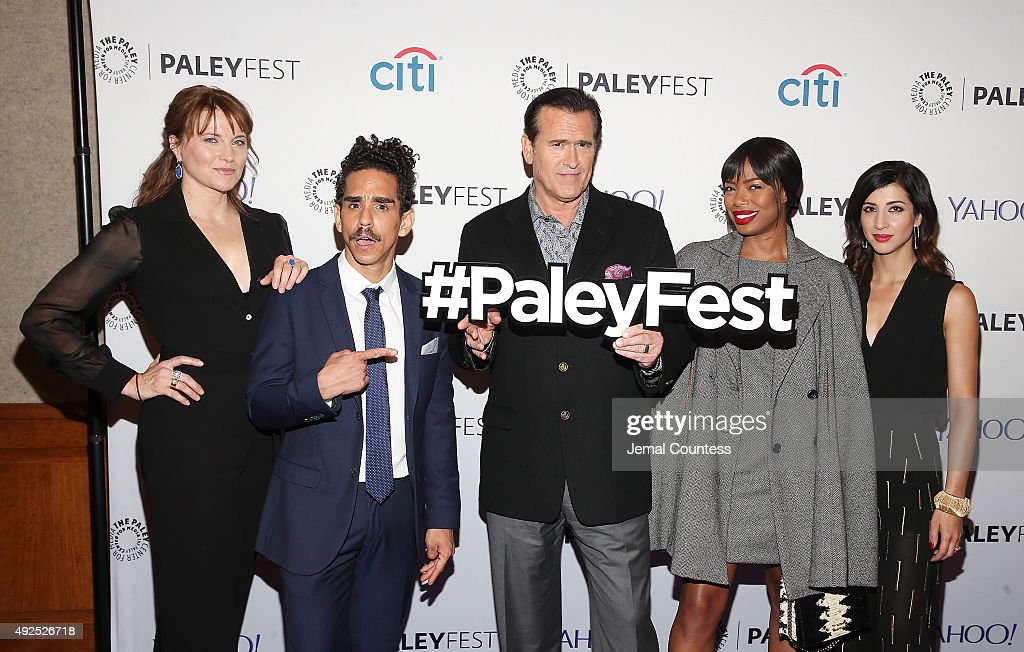 Actors Lucy Lawless, Ray Santiago, Bruce Campbell, Jill Marie Jones and Dana DeLorenzo attend the 'Ash Vs Evil Dead' panal event during the PaleyFest New York 2015 at The Paley Center for Media on October 13, 2015 in New York City.