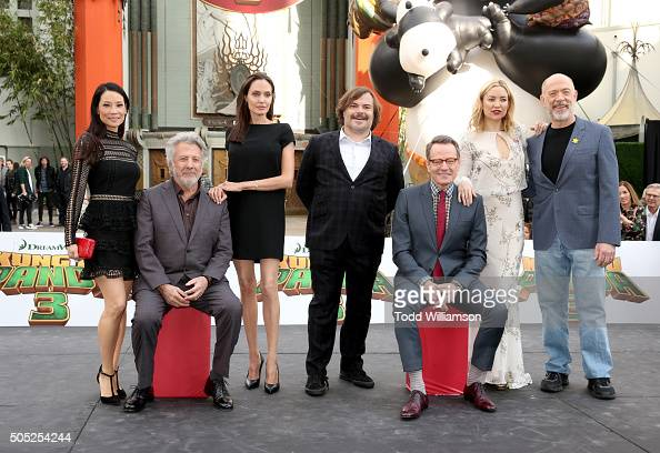Actors Lucy Liu Dustin Hoffman Angelina Jolie Jack Black Bryan Cranston Kate Hudson and JK Simmons attend the premiere of DreamWorks Animation and...