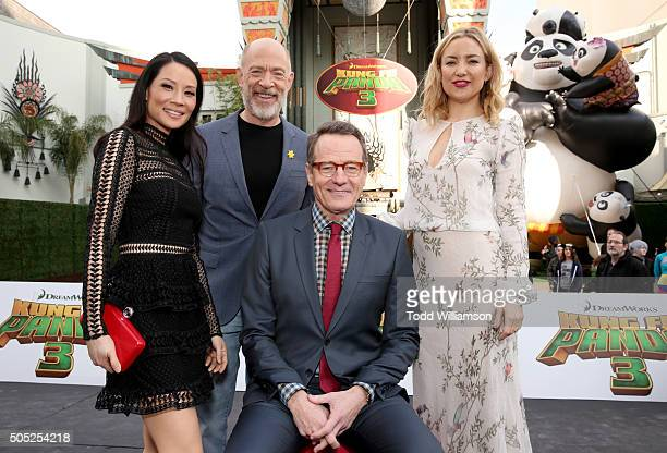 Actors Lucy Liu JK Simmons Bryan Cranston and Kate Hudson attend the premiere of DreamWorks Animation and Twentieth Century Fox's 'Kung Fu Panda 3'...