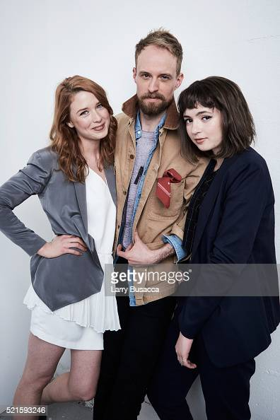Actors Lucy Walters Adam David Thompson and Gina Piersanti from 'Here Alone' pose at the Tribeca Film Festival Getty Images Studio on April 15 2016...
