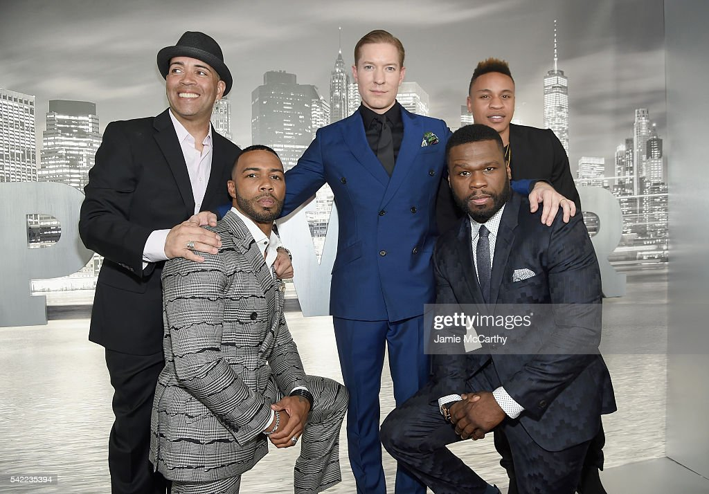 Actors Luis Antonio Ramos Omari Hardwick Joseph Sikora Curtis Jackson and Rotimi Akinosho attend the STARZ 'Power' New York season three premiere at...