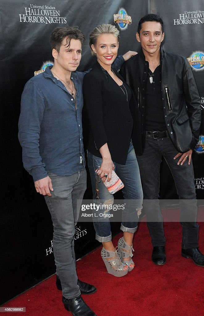 Actors Lukas Nelson, Nicky Whelan; and Gabriel Luna of 'Matador' arrive for Universal Studios Hollywood 'Halloween Horror Nights' Kick Off With The Annual 'Eyegore Awards' held at Universal Studios Hollywood on September 19, 2014 in Universal City, California.