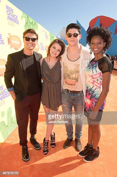 Actors Luke Bilyk Sara Waisglass Ricardo Hoyos and Reiya Downs of Degrassi The Next Generation attend Nickelodeon's 28th Annual Kids' Choice Awards...