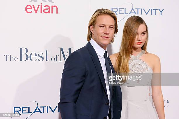 Actors Luke Bracey and Liana Liberato attend the premiere of Relativity Studios' 'The Best Of Me' at Regal Cinemas LA Live on October 7 2014 in Los...