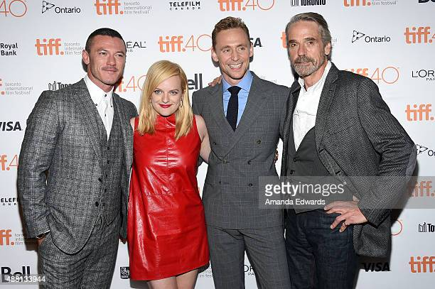 Actors Luke Evans Elisabeth Moss Tom Hiddleston and Jeremy Irons attend the 'HighRise' premiere during the 2015 Toronto International Film Festival...