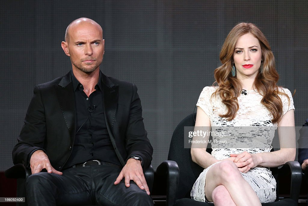 Actors Luke Goss and Jaime Ray Newman of 'Red Widow' speak onstage during the ABC portion of the 2013 Winter TCA Tour at Langham Hotel on January 10, 2013 in Pasadena, California.
