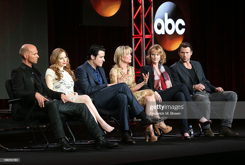 Actors Luke Goss, Jaime Ray Newman, Goran Visnjic, Radha Mitchell, Executive Producer Melissa Rosenberg and actor Wil Traval of 'Red Widow' speak onstage during the ABC portion of the 2013 Winter TCA Tour at Langham Hotel on January 10, 2013 in Pasadena, California.