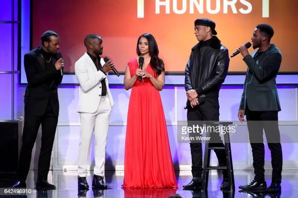Actors Luke James Elijah Kelley host Regina Hall and actors Keith Powers and Woody McClain speak onstage during BET Presents the American Black Film...