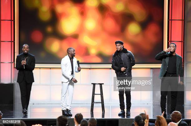 Actors Luke James Elijah Kelley Keith Powers and Woody McClain speak onstage during BET Presents the American Black Film Festival Honors on February...