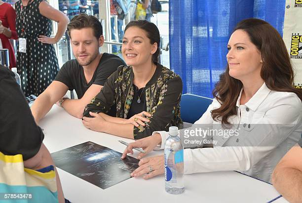 Actors Luke Kleintank Alexa Davalos and executive producer Isa Dick Hackett attend Amazon Original Series 'The Man in the High Castle' panel and...