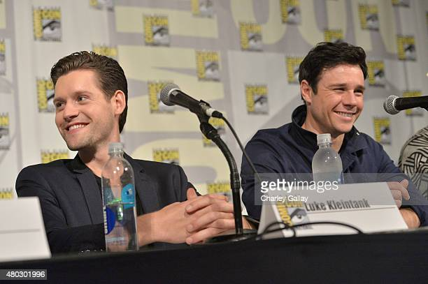 Actors Luke Kleintank and Rupert Evans attend Amazon Original Series 'The Man In The High Castle' Panel And Signing on July 10 2015 in San Diego...