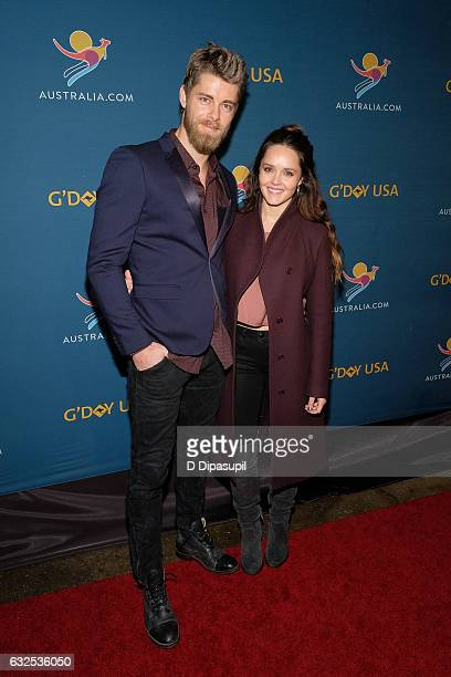 Actors Luke Mitchell and Rebecca Breeds attend A Virtual Tour of Australia at Hudson Mercantile on January 23 2017 in New York City
