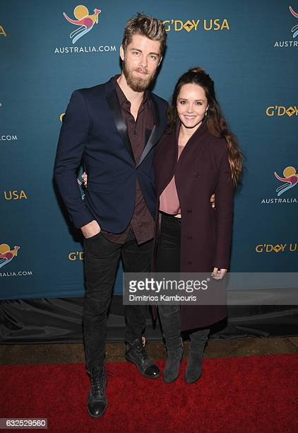 Actors Luke Mitchell and Rebecca Breeds attend a Virtual Tour of Australia in NYC at Hudson Mercantile on January 23 2017 in New York City