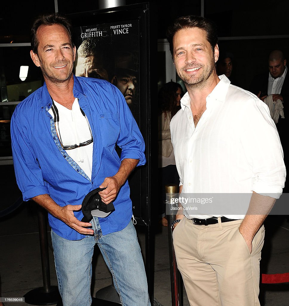 Actors <a gi-track='captionPersonalityLinkClicked' href=/galleries/search?phrase=Luke+Perry&family=editorial&specificpeople=171633 ng-click='$event.stopPropagation()'>Luke Perry</a> and <a gi-track='captionPersonalityLinkClicked' href=/galleries/search?phrase=Jason+Priestley&family=editorial&specificpeople=208687 ng-click='$event.stopPropagation()'>Jason Priestley</a> attend the premiere of 'Dark Tourist' at ArcLight Hollywood on August 14, 2013 in Hollywood, California.