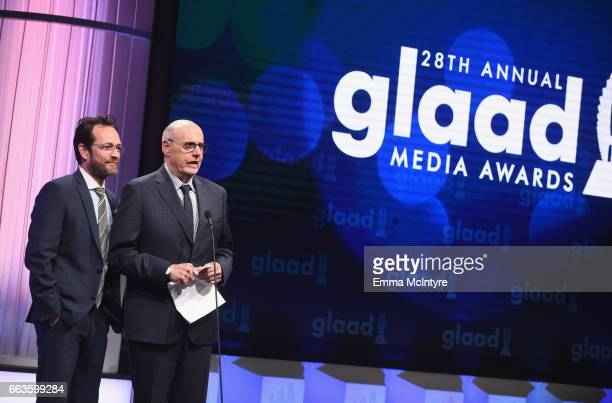 Actors Luke Perry and Jeffrey Tambor speak onstage during the 28th Annual GLAAD Media Awards in LA at The Beverly Hilton Hotel on April 1 2017 in...