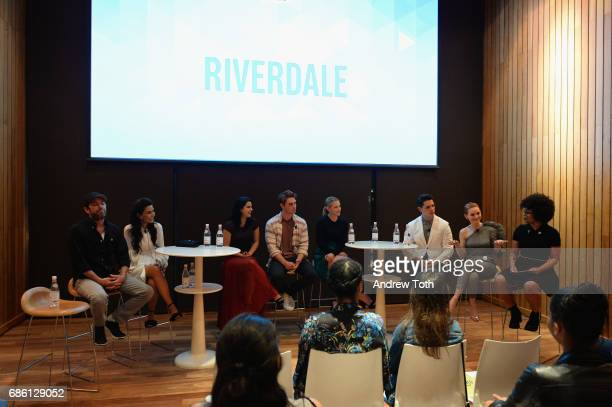 Actors Luke Perry Marisol Nichols Camila Mendes KJ Apa Lili Reinhart Casey Cott and Madelaine Petsch of Riverdale series attends the Vulture Festival...